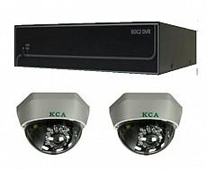 Bộ sản phẩm 2CAM+1A gồm: 2 Camera KCA-5842+ 1 Đầu ghi Deeplet DE1204