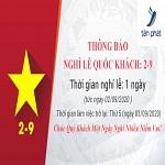Thông báo nghỉ Lễ Quốc Khánh 2/9/2020,thong bao nghi le quoc khanh 292020