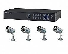 Bộ sản phẩm 4CAM+1D gồm: 4 Camera KCA-7852+ 1 Đầu ghi Deeplet DE1504
